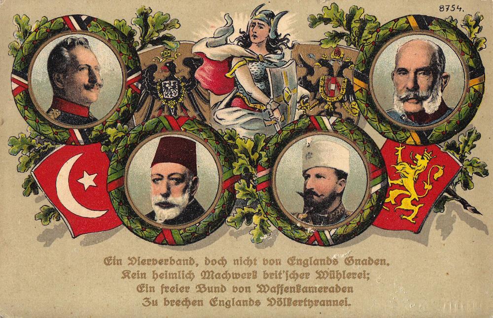 Vierbund im Ersten Weltkrieg: Kaiser Wilhelm II. (Deutsches Reich), Sultan Mehmed V. (Osmanisches Reich), Zar Ferdinand I. (Bulgarien), Kaiser Franz Joseph I. (Österreich-Ungarn) Credits: von B. B. & O. L. G. M. B. H. (my archive) [Public domain], via Wikimedia Commons