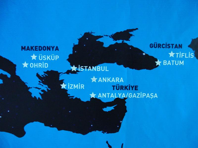 Karte im Flughafen von Ankara. Gürcistan ist Georgien.