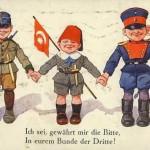 """Österreich-Ungarn, Osmanisches Reich, Deutscland im Ersten Weltkrieg: Postkarte mit Schiller-Zitat im Ersten Weltkrieg (zuerst gesehen in """"1914/2014 – Schlachtfeld Erinnerung"""", Ausstellung Depot İstanbul, 2014)"""