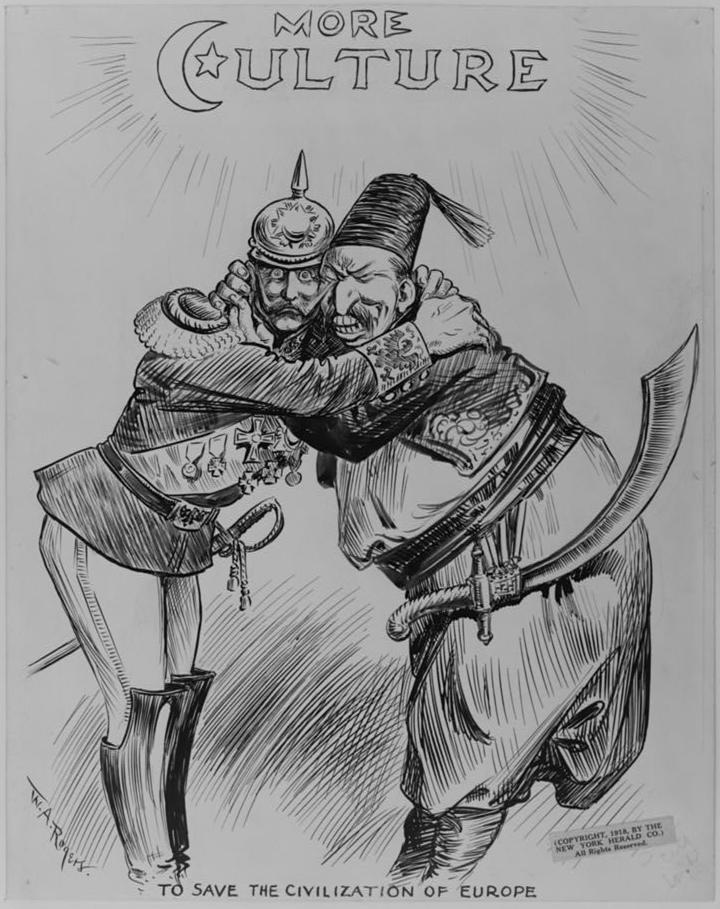 """""""To save the civilization of Europe"""": Angehöriger des deutschen Militärs (wahrscheinlich Wilhelm II.) und Repräsentant des osmanischen Heeres (amerikanische Karikatur zwischen 1914 und 1918, W. A. Rogers, New York Herald Company, Cabinet of American Illustration / Public Domain)"""