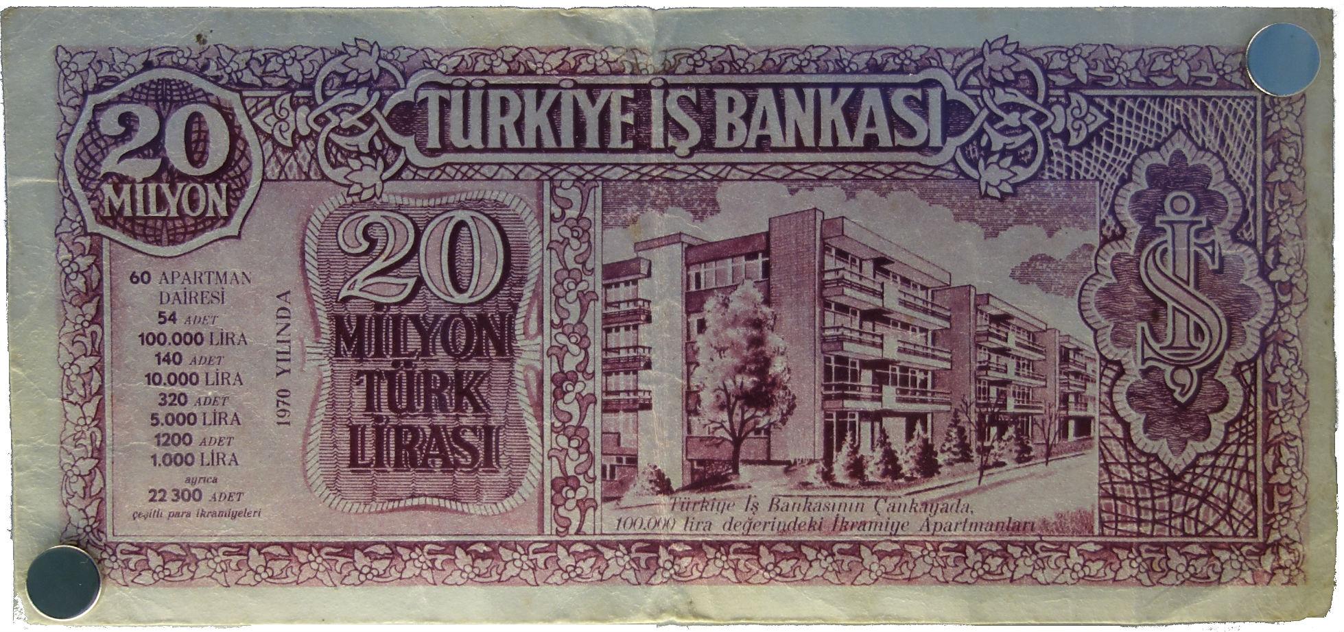 20 Millionen Türkische Lira (Banknote, 1970)