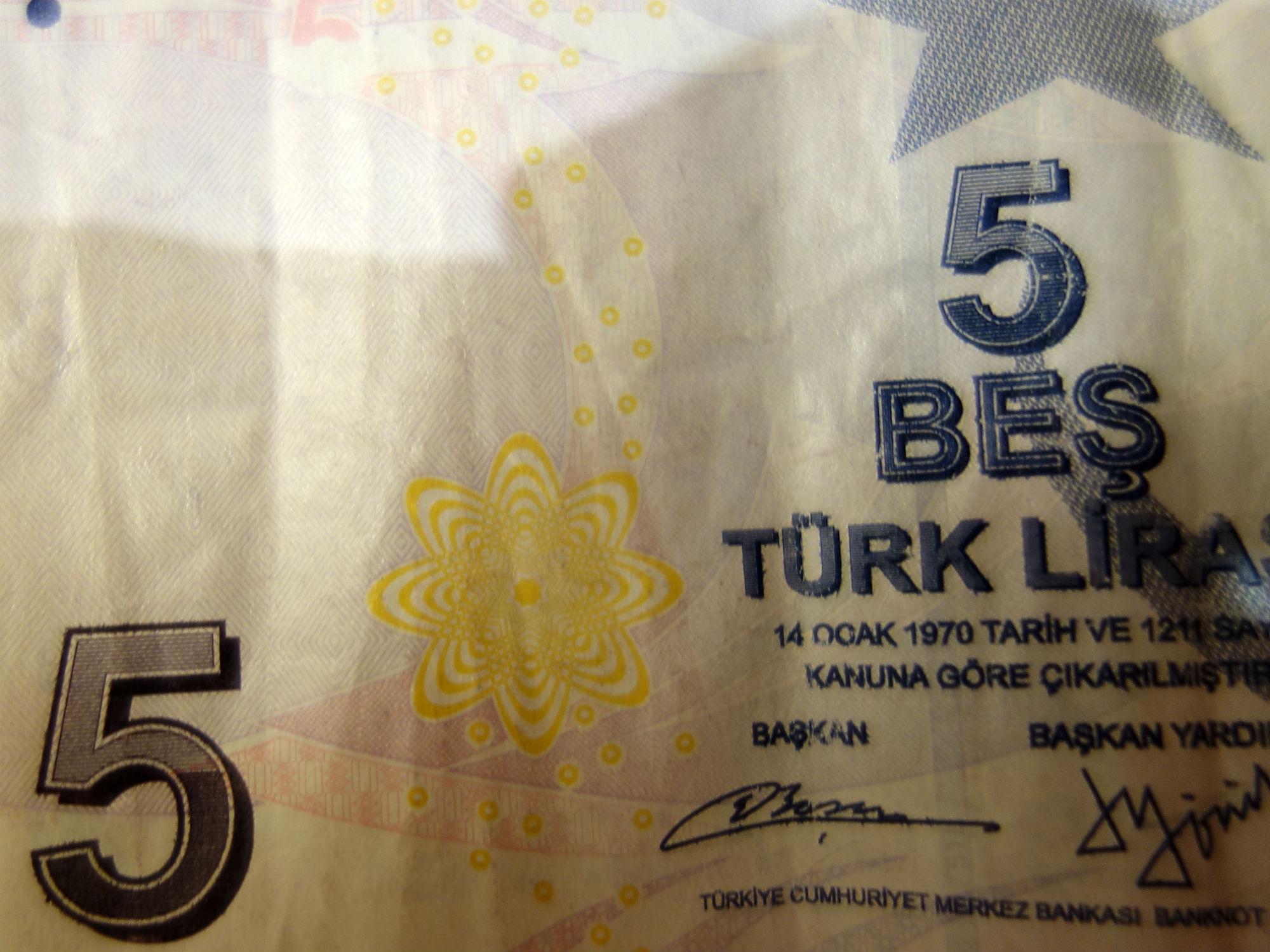 5 Türkische Lira (Banknote, Detail)