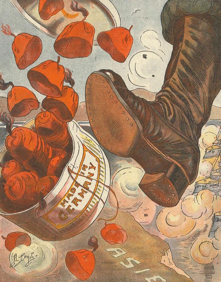 Französische Karikatur von 1915: Französischer Stiefel tritt gegen eine Fez-Hutschachtel, Made in Germany. Feze wurden damals tatsächlich in Deutschland für das Osmanische Reich gefertigt. Le Blog de Bibliothèques de Saint-Brieuc