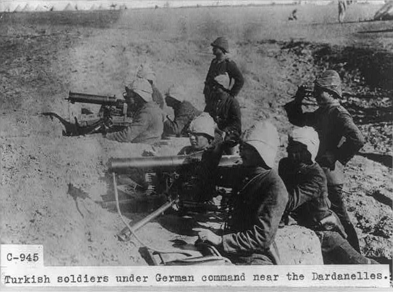 Turkish soldiers under German command near the Dardanelles (1915) Library of Congress