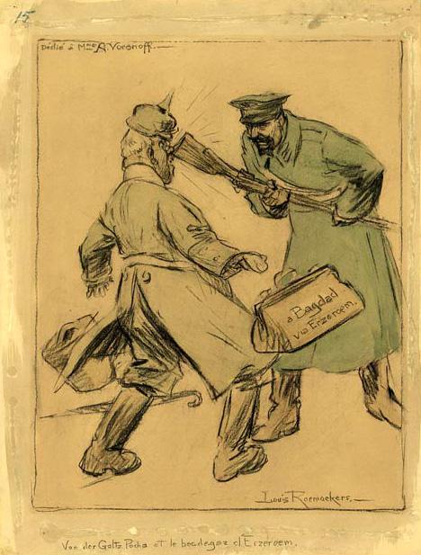 Karikatur von 1916: Der Preuße von der Goltz wird von einem russischen Soldaten in Erzurum aufgehalten. Erzurum, heute Türkei, wird 1916 von den Briten eingenommen. © Zeichnung: Louis Raemaekers